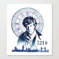 sherlock Canvas Prints featuring Sherlock by Jackie Sullivan