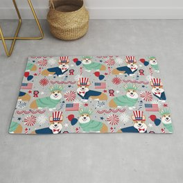 Corgi July 4th patriotic dog breed USA pet friendly custom dog breed pattern Rug