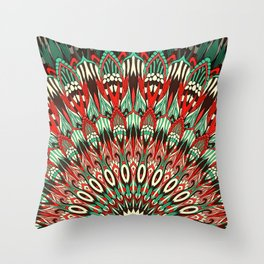 Ethnic mandala Retro colors Throw Pillow