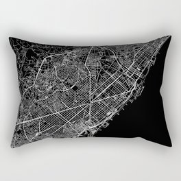 Barcelona Black Map Rectangular Pillow