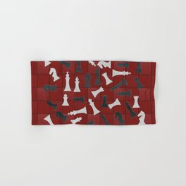 Chess Figures Pattern -Leather texture Hand & Bath Towel