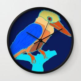 Kingfisher on Blue Wall Clock
