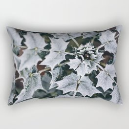 Leaves covered in frost Rectangular Pillow