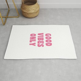 Good Vibes Only in Pink Retro Lettering Rug