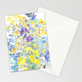 purple blue and yellow flowers bouquet watercolor   Stationery Cards