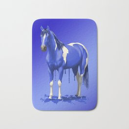 Royal Blue Dripping Paint Horse Bath Mat