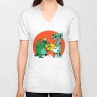 rap V-neck T-shirts featuring Kaiju Rap Battle by Morkki