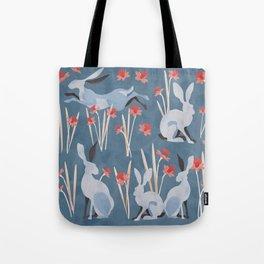 Easter Jackrabbit Blues Tote Bag