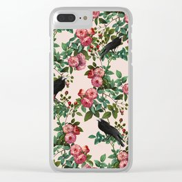 Roses With Crows Pattern Clear iPhone Case