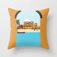 arab Throw Pillows featuring Arab city by Design4u Studio
