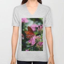 Butterfly In Pink Unisex V-Neck