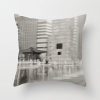 seoul Throw Pillows featuring Abstract Seoul by Zayda Barros