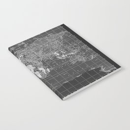 Black and White Vintage World Map Notebook