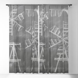 steampunk western country chalkboard art agriculture farm windmill patent print Sheer Curtain