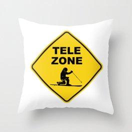 Telemark Ski Zone Sign Throw Pillow
