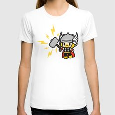 Thor QiQi - hammer hammer hammer.... LARGE Womens Fitted Tee White