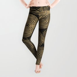 Radial Block Print in Charcoal and Gold Leggings