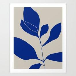 Blue minimal plant Art Print