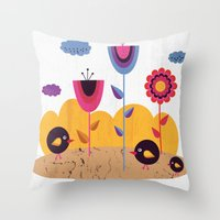 spring Throw Pillows featuring Spring by Kakel