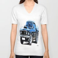 muscle V-neck T-shirts featuring american muscle  by Vector Art