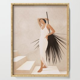 Minimal Woman with a Palm Leaf Serving Tray