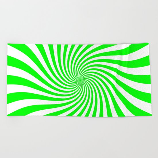 Swirl (Green/White) Beach Towel