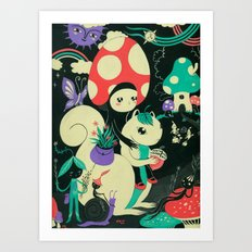 Mushroom and Squirl Art Print