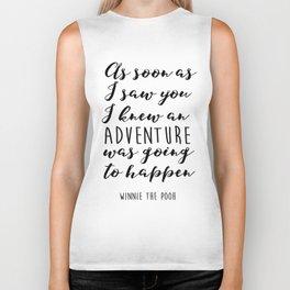 "Winnie the Pooh Adventure Quote ""I knew when I met you"" Print, Winnie the Pooh nursery art, Baby Sho Biker Tank"