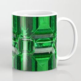 FACETED GREEN EMERALD MAY GEMSTONE ART Coffee Mug