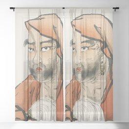 Daruma (Bodhidharma) with a horsetail whisk by Kono Bairei (1844-1895) Sheer Curtain