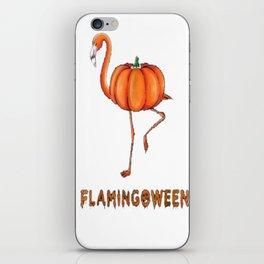 Flamingo funny halloween flamingoween pumkin casual t-shirt iPhone Skin