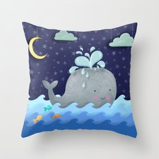One Wonderful Whale With Fabulous Fishy Friends Throw Pillow