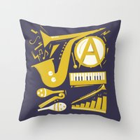 jazz Throw Pillows featuring Jazz by Veronica S
