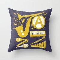 jazz Throw Pillows featuring Jazz by Veronika K