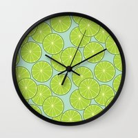lime green Wall Clocks featuring lime by Tanya Pligina