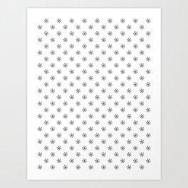 Black on White Snowflakes Art Print