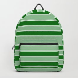 Large Horizontal Christmas Holly and Ivy Green Velvet Bed Stripes Backpack