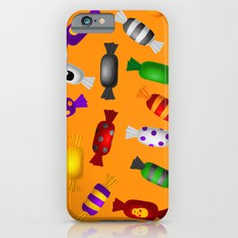Halloween Colorful Candy On Orange Background Pattern iPhone Case