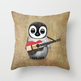 Baby Penguin Playing Egyptian Flag Acoustic Guitar Throw Pillow