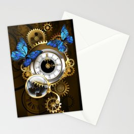 Silver Watches with Blue Butterflies ( Steampunk ) Stationery Cards