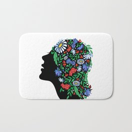 Female head with abstract flowers Bath Mat