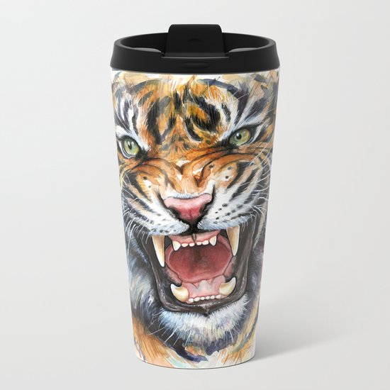 Tiger Watercolor Wild Animal Jungle Animals Metal Travel Mug