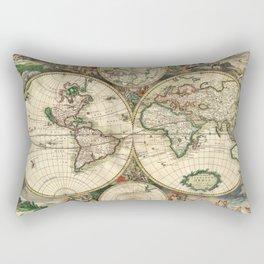 Old map of world (both hemispheres) Rectangular Pillow