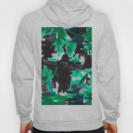psychedelic vintage camouflage painting texture abstract in green and black Hoody