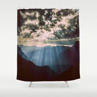 mountains Shower Curtains featuring mountainS Dark Sunset by 2sweet4words Designs