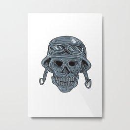 Skull Biker Helmet Drawing Metal Print