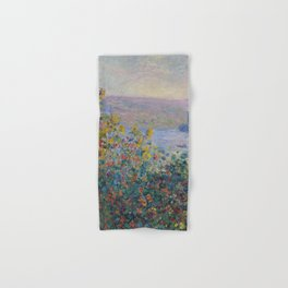 Flower Beds at Vetheuil by Claude Monet Hand & Bath Towel
