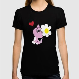 Kitty with daisy flower T-shirt