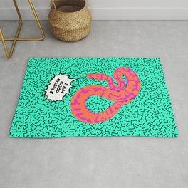 """""""Good Noodle"""" Bright Pop-Art Snake Illustration Rug"""