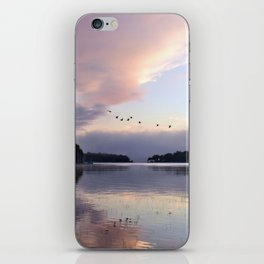 Uplifting: Geese Rise at Dawn on Lake George iPhone Skin
